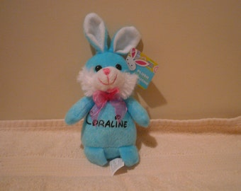 Coraline-CLEARANCE SALE , Plush blue bunny, soft baby toy, plush bunny with Coraline on it, baby shower gift