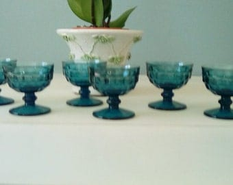 6 Vintage dessert cups, fruit cups, Indiana glass Park Lane Blue Colony