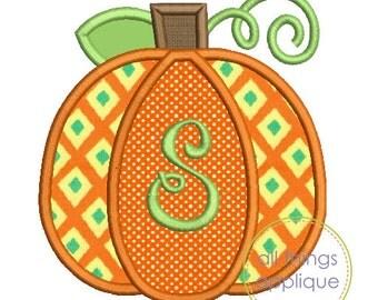 Pumpkin 3 Applique Design - SATIN Stitch (#809) - Fall Applique Design - 4 Sizes - INSTANT DOWNLOAD