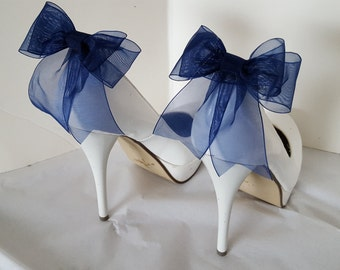 Shoe Clips, Wedding Shoe Clips, Bridal Shoe Clips, Organza Shoe Clips, Bridal Accessories,Navy Blue Shoe CLips, Shoe Clips Only