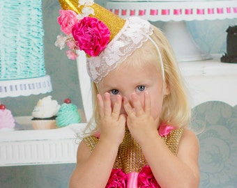 1st birthday hat - girls birthday hat - sparkle birthday hat - blush and GOLD hat - 2nd birthday hat - baby girl Birthday - Photo Prop