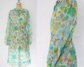 Vintage 1970s Pastel Floral Dress 70s Floral Dress Neck Tie Dress Watercolor Dress Pastel Dress Size 10 12