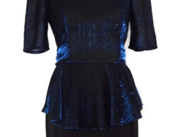 70s 80s Blue Metallic Lurex Peplum Tie Back Disco Dancing Rock Star Party Dress