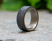 Men's titanium and carbon fiber ring. Unique and exclusive black wedding ring. Water resistant, very durable and hypoallergenic. (00309)