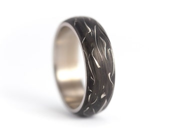 Men's titanium and carbon fiber ring. Unique black wedding band. Water resistant, very durable and hypoallergenic. (00327_7N)