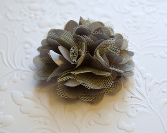 "Gray Satin and Tulle Flowers. Mini Satin Flowers. Tulle Flowers. 2"". QTY: 1 Flower"