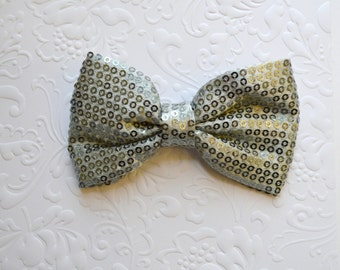 "SIlver Grey Sequin Bow. Silver Gray Sequin Bow. Large Sequin Bow. 3.75"".  1 Bow."