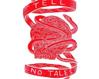Tell No Tales (Lino Print)
