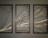 Birch, Branch, Triptych, Wall Hanging, Triptych,Original Art, Rustic, Art, Urban, Chic, Modern