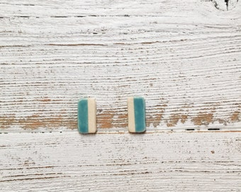 Ceramic Bar Earrings, Caribbean Blue, Unique Gift, Modern, Gift for Her, Minimal, Ceramics, Summer, Minimal Jewelry, Ceramic Jewelry