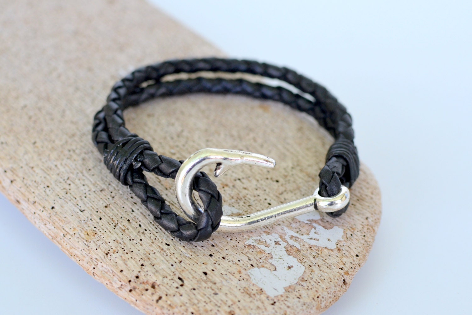 Fish hook bracelet braided black leather cord and an antiqued for Leather fish hook bracelet