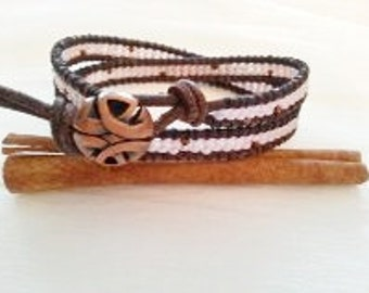 Double wrap bracelet, sepia leather, rosy pink, seed beads