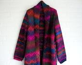 FREE SHIPPING*** Knitted Long Cardigan With Shawlcollar Multicollored Warm Coat Jacquard Kimono Style Ethno Glam