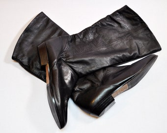Vintage Tall Black Leather Fold Over Flat Pointed Toe Slouchy Pirate Boots