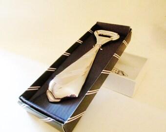 Twos Company Tie Bottle Opener, Ivy League Bottle Opener, Gift for Him, Silver Bottle Cover, Bottle Cap Opener