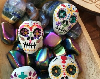 Sugar Skull dread bead ((Made to order)) skull bead, rainbow skull, dread lock bead, clay bead, mandala skull