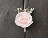 Grooms Boutonniere- Luxe Collection, Blush Rose, Sola Flowers, Dusty Miller, Groomsmen, Buttonhole, Wedding Flowers