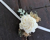 Luxe Wedding Corsage - Mother of the Bride, Dusty Miller, Sola Flower, Natural Wedding, Shabby Chic Rustic Wedding