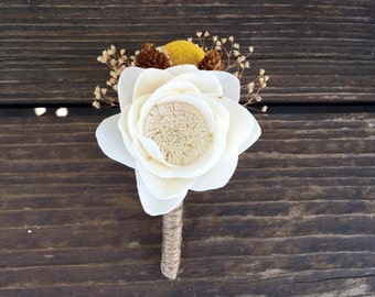 Ready To Ship ivory Sola Flower Yellow Billy Button Twine Boutonniere- Groomsmen, Wedding Flowers, Rustic Wedding