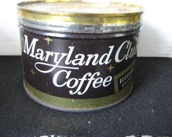 Vintage  Maryland Club Coffee Tin , Key Wind, original lid