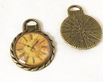 10pcs Antique Bronze Enamel Pocket Watch Charm Clock Charms Pendant 20x26mm