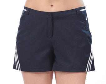 ADIDAS Climalite Shorts 3 Stripe High Waisted  Festival Summer Relax Fit Navy Blue White Vintage 90s Grunge Clothting . sz Medium