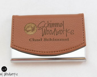 Leather business card holder etsy custom engraved leather business card holder groomsmen gift personalized business card case groomsman reheart Images