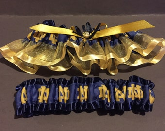 Wedding Garter Blue and Gold Notre Dame inspired Team Theme blue on blue