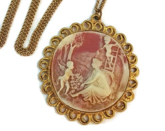 Cameo jewelry etsy victorian necklace art nouveau jewelry cameo necklace cameo jewelry antique cameo edwardian necklace large cameo pendants aloadofball Choice Image