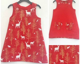 Girls Christmas Dress, Girl Reversible Dress, Party Dress. Special Occasion, Reindeer Dress, Fox Dress, Festive, Christmas Outfit, Red Dress