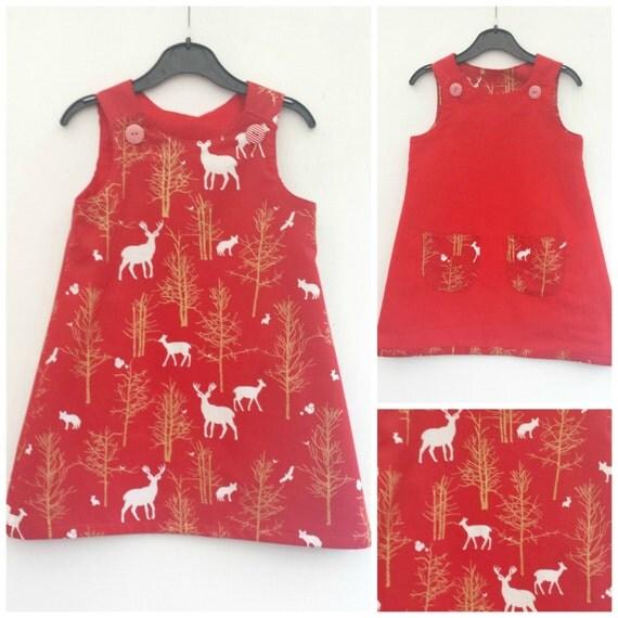 Mädchen Weihnachten Kleid Mädchen Reversible Kleid