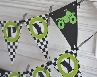 Happy Birthday Pennant Flag Checkered Flag Black Lime Green 4-Wheeler ATV All Terrain Vehicle Buggy Theme Banner - Party Pack Specials