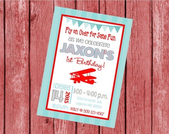 """Customized 5x7"""" Printable OR Printed Invitation WITH Envelopes - Red & Blue Vintage Airplane Bi Plane - Or Match ANY theme in my Shop"""