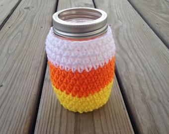 Crochet mason jar cozy, candy corn, Halloween, fall