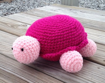Crochet pink and magenta stuffed amigurumi turtle