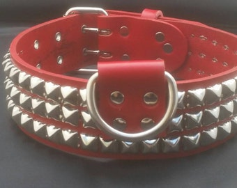 2 Inch Wide Leather Dog Collar with Pyramid Studs