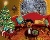 10x8 PRINT - Christmas Snowstorm Yellow, Black Labs and Cat - Art by Carrie Tasman