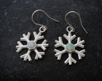 Opal earrings - Snowflake Earrings - Opal Pendant Earrings - Opal Drop Earrings - Snowflake Dangle Earrings Sterling Silver - Free Shipping