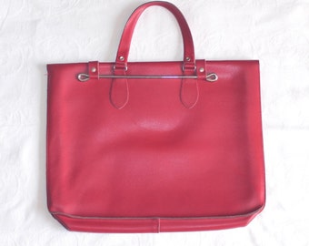 Cherry red sheet music case. leather sheet music satchel