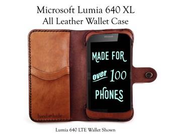 Lumia 640 XL Leather Wallet Case - No Plastic - Free Inscription