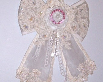 Lace Bow, Shabby chic bow, Large hanging bow, Romantic Bow, Romantic,  Handmade Satin Rose, Pearls, Sequin Bow