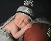Crocheted baby football beanie and Diaper Cover Oakland Raiders or Any Team Any team color.