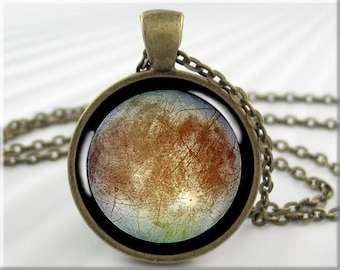 Europa Moon Pendant, Jupiter Moon Europa, Cassini Probe Picture, Resin Jewelry, Space Gift, Round Bronze (732RB)