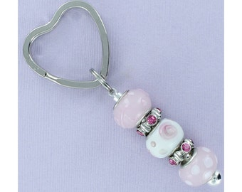 BEADED KEYRING with Pink and White Lampwork and Rhinestone Beads