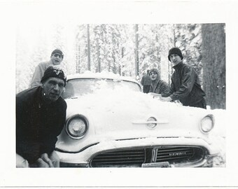 Gangs all Here winter snow 1950s Olds Oldsmobile found art photo vernacular photography social realism mid century modern found snapshot