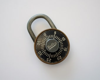 Vintage Brass Combination Padlock - Dudley Lock Corp. Chicago, Ill.