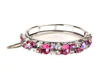Vintage Lisner Pink AB Rhinestone Rodium Plated Silvertone Hinged Bangle Bracelet