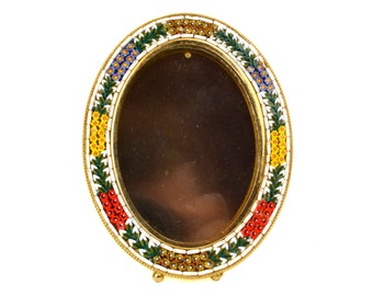 "Vintage Micro Mosaic Picture Frame // 4"" Oval Frame with Glass on Stand // Flower Mosaic Gold Gilt Souvenir // Made in Italy"