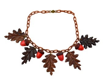 Vintage Red Plastic Acorn and Wood Oak Leaves Charm Necklace with Celluloid Chain // 1930s/40s Early Plastic Jewelry // Dangle Fringe Choker