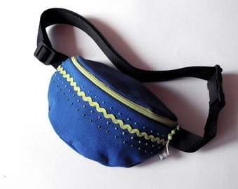 fanny pack/hip bag - blue and green (small size)